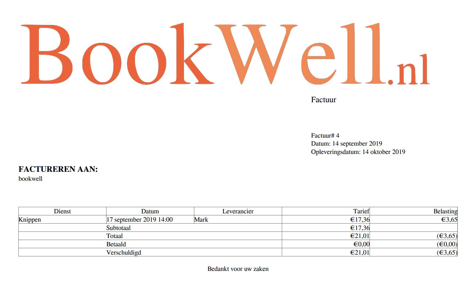 bookwell factuur